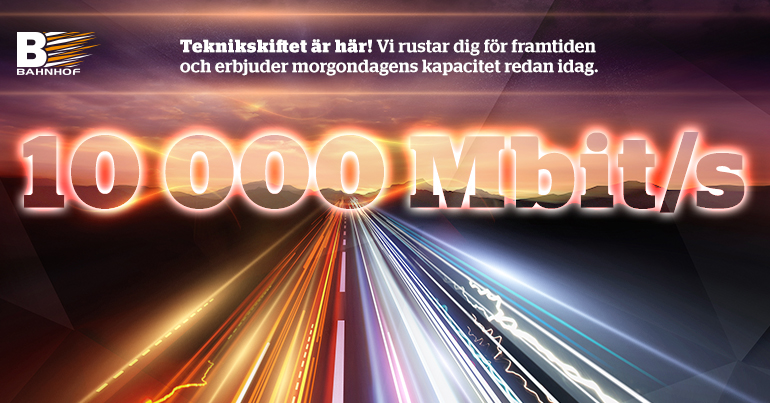Bahnhof lanserar 10 000 Mbit/s till privatpersoner för 298 kr/mån