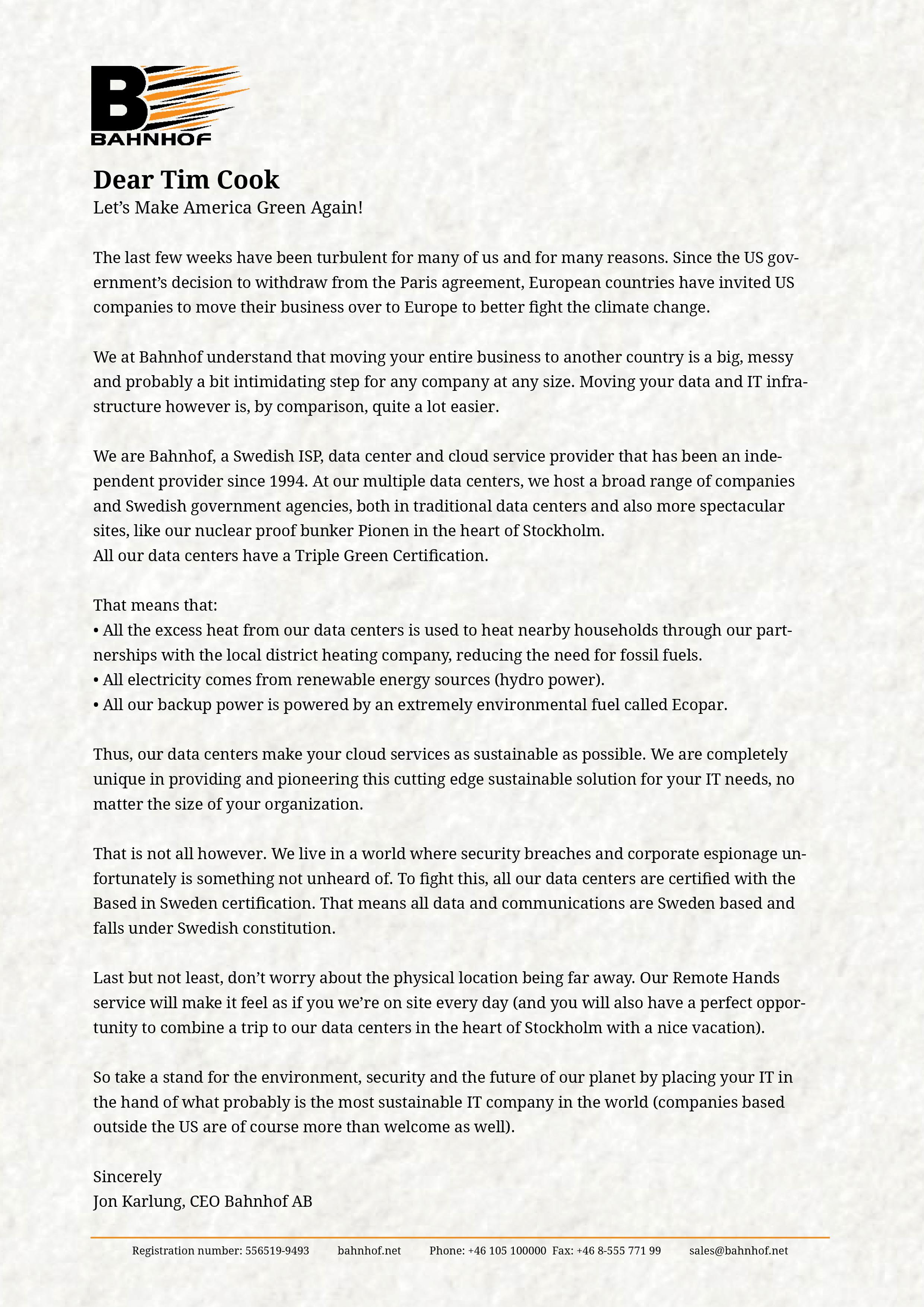 An open letter to U S panies Nyheter